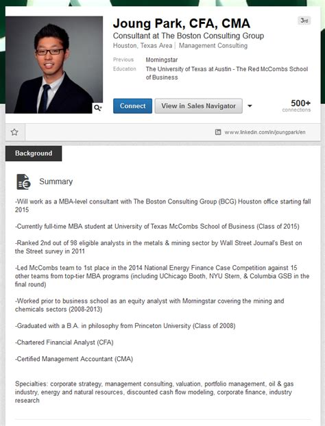 Linkedin Summary Template Summary Template For Students Resume Exles For