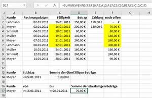 Excel Datum Berechnen Tage Addieren : die excel funktion summewenns f r bedingtes addieren von ~ Themetempest.com Abrechnung