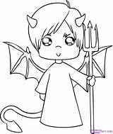 Draw Boy Devil Cartoon Step Steps sketch template