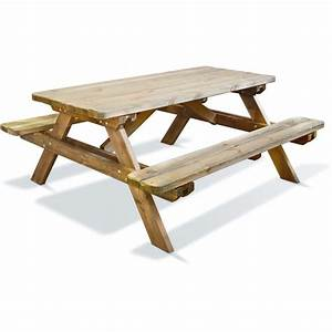 Table Bois Pique Nique : table pique nique en bois longueur 180 cm robuste jardipolys bricozor ~ Melissatoandfro.com Idées de Décoration