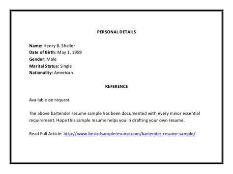 Personal Details On Resume Exles by Bartender Resume Sle Pdf