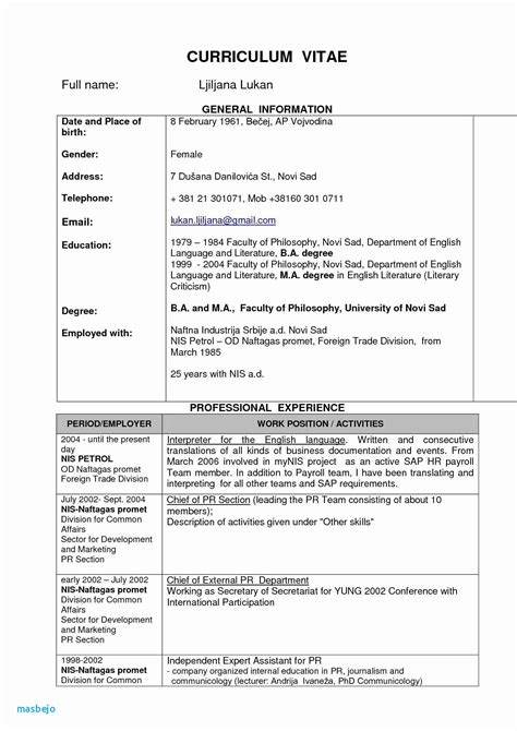 Cv Englisch Muster by Curriculum Vitae In Cv Resume Sle Doc Best