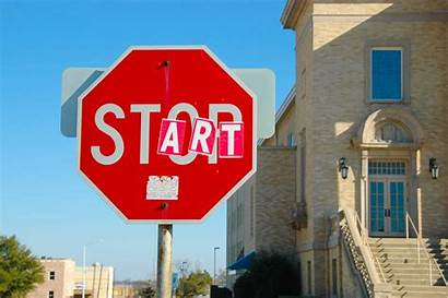 Stop Sign Start Signs English Vandalized Driving