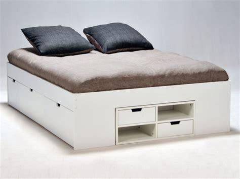 vente chambre lit blanc avec tiroirs et chevets coulissants denzo