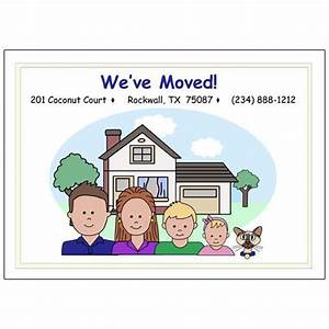 change of address moving announcements cartoon family With change of address labels moving