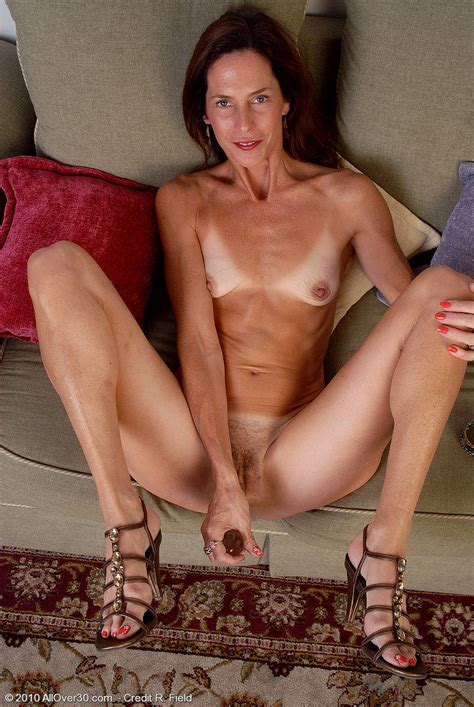 Skinny Mature Lady Spreading And Toying Her Hairy Pussy