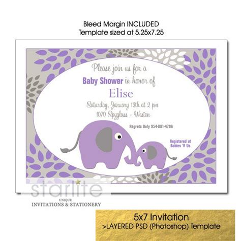 purple  gray baby shower invitation template mother baby