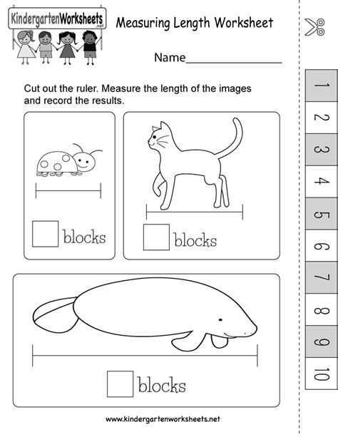 measuring length worksheet with an easy ruler that