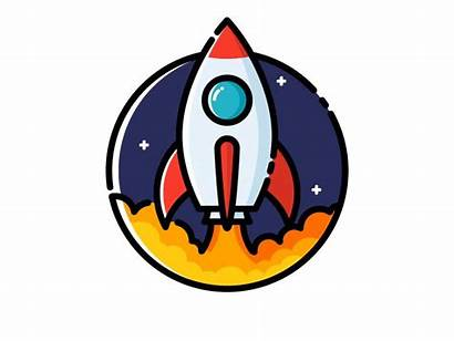 Rocket Launch Dribbble Drawing Icon Rockets Space