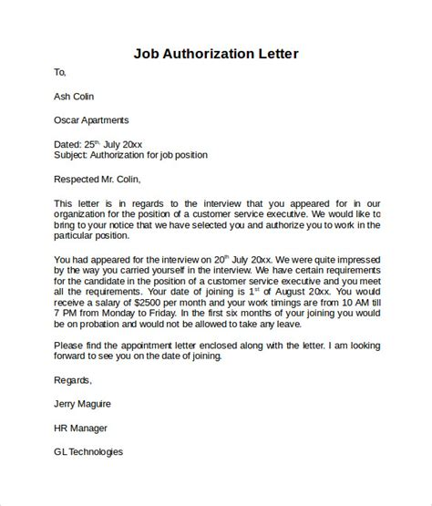 letter  authorization    documents