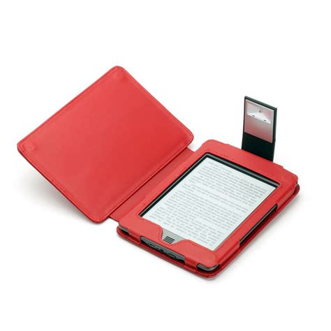 kindle touch cover with light red genuine leather case for kindle touch with slim led light