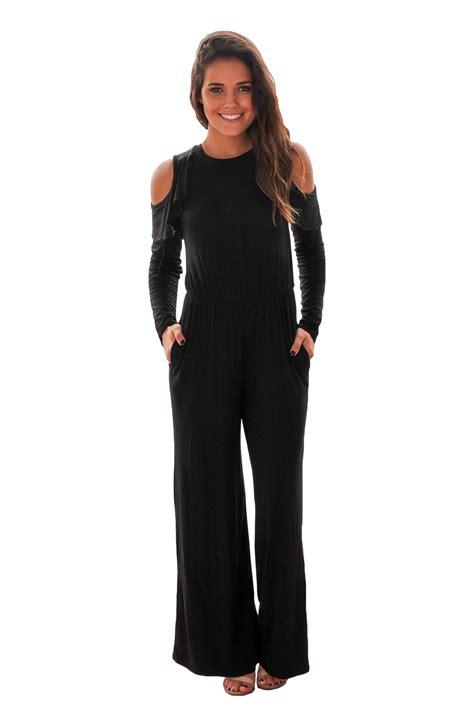 black sleeve jumpsuit us 9 89 black ruffle cold shoulder sleeve jumpsuit