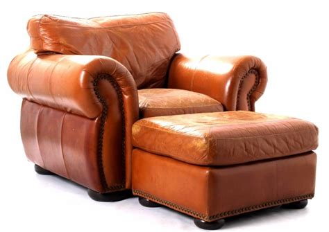 leather oversized arm chair ottoman