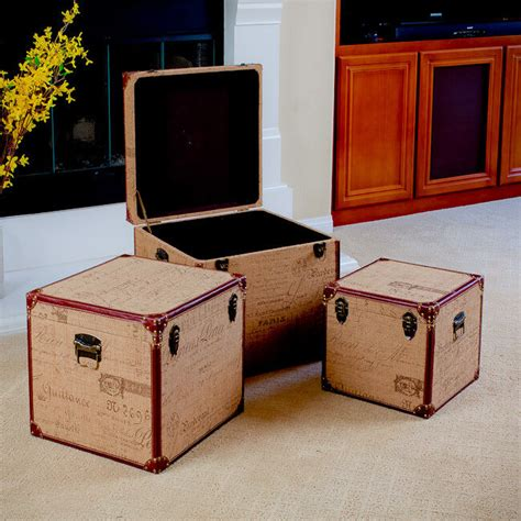 Set Of 3 Stacking Home Decor Storage Trunks (boxes) W