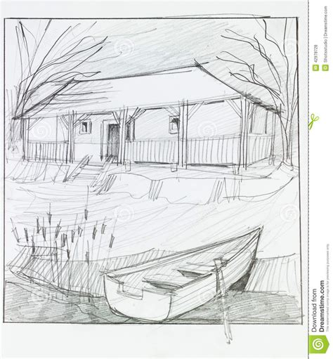 How To Draw A Boat Scene by Countryside Scene Stock Illustration Illustration Of