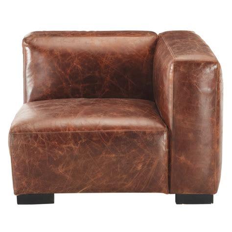 accoudoir de canapé accoudoir droit de canapé en cuir marron maisons du