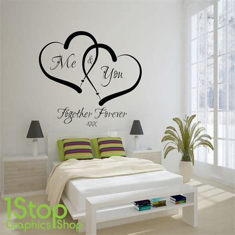 me and you love heart wall sticker quote home wall art decal x338 ebay