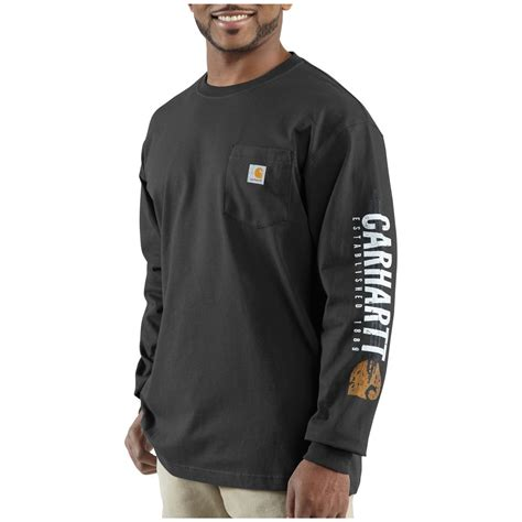 men s carhartt 174 impact logo long sleeve pocket t shirt 227216 shirts at sportsman s guide