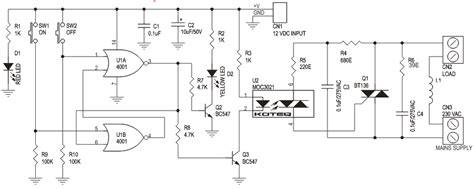 Digital Toggle Switch With Solid State Relay Circuit