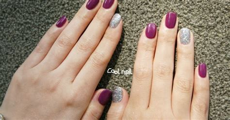 magazinepapa purple maroon gel nail art  silver