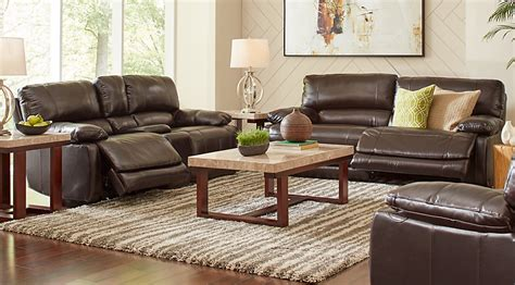cindy crawford home auburn hills brown leather  pc