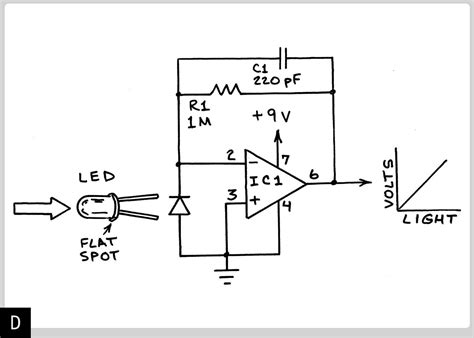 photodiode light detector circuit linear light intensity and photodiode current