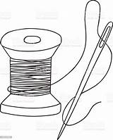Needle Thread Spool Coloring Wooden Template Vector Freehand Drawn Retro Antique Illlustration Technique Culture Entertainment Arts Usa sketch template