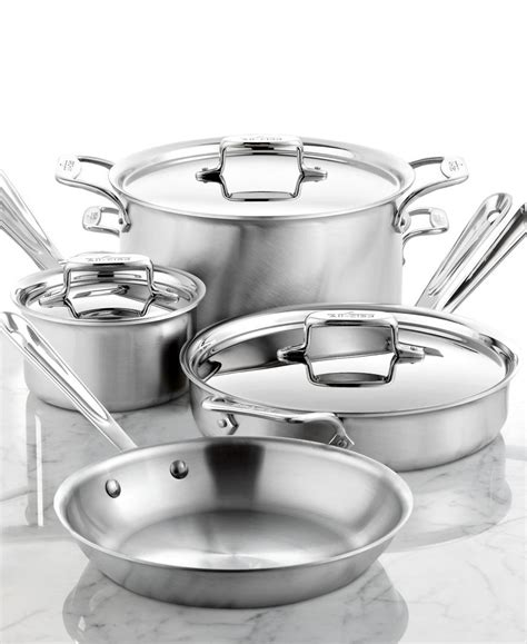 brushed stainless steel  piece cookware set brushed