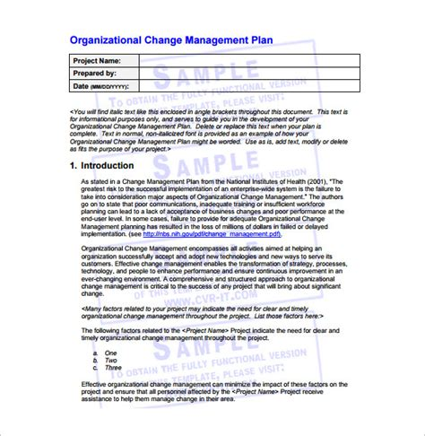 change management plan examples   ms word