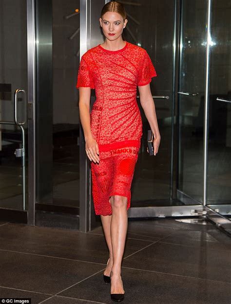 Karlie Kloss Wears Red Lace Dress New York Daily Mail