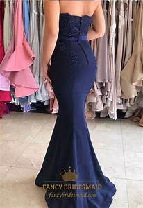 Navy Blue Strapless Lace Embellished Mermaid Long ...