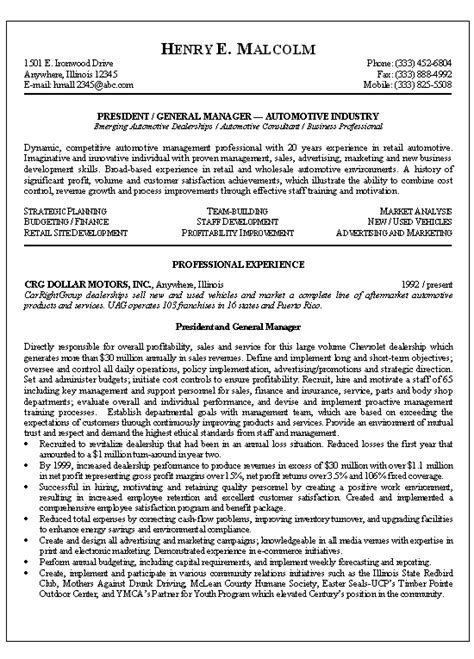 summary for resume for management position automotive manager resume exle
