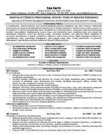 resume sles for hospitality and tourism hospitality resume exle