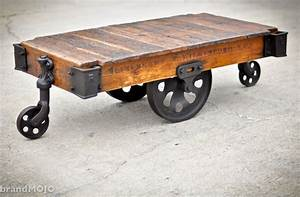 vintage industrial factory cart coffee table 48l x 27w x With retro industrial coffee table