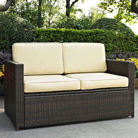 modern loveseat with cushions outdoor seating woven wicker