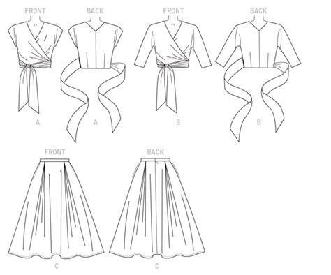 misses wrap top  flared skirt sewing pattern