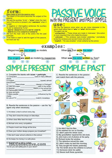 passive voice with simple present and past grammar