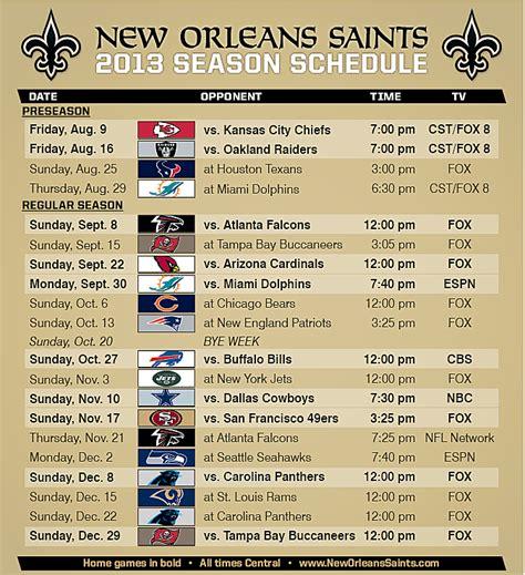 orleans saints football regular season schedule