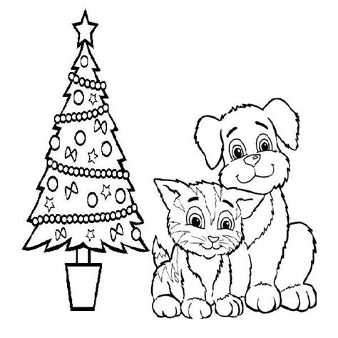 cat christmas coloring pages beautiful dog and cat
