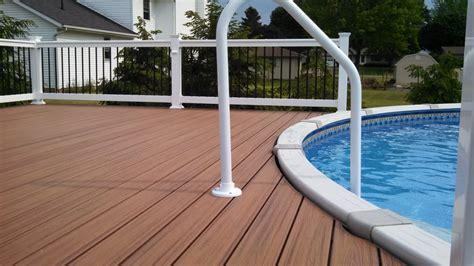 pool deck railing pool deck with trex trandscends decking and white vinyl railing with deckorator black aluminum