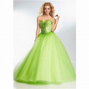 Ball Gown Strapless Sweetheart Corset Back Lime Green