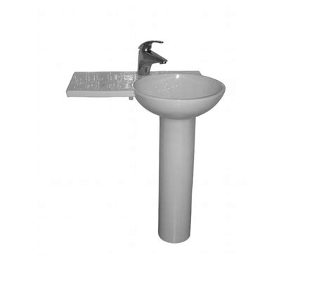 Barclay Pedestal Sink Compact 450 by Barclay Pedestal Lavatory Right Basin One