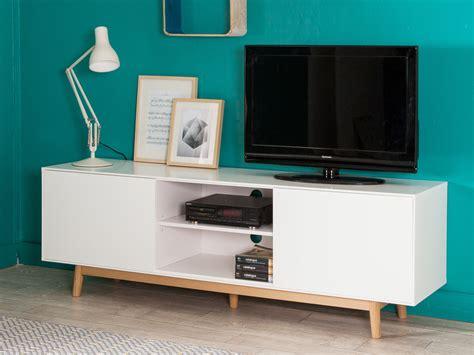 cuisine tele meuble tv 2 portes 2 niches en bois laqué blanc pieds