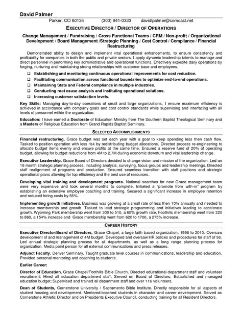 Non Profit Resume by Non Profit Executive Resume Exles Sidemcicek