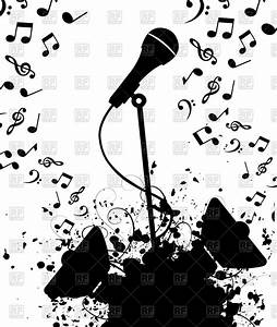 Microphone and columns with music notes Royalty Free ...