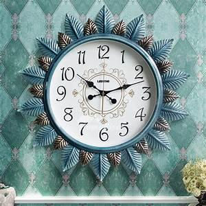 24, Inch, Unique, Wall, Clocks, Sunburst, Living, Room, Decorative, Blue