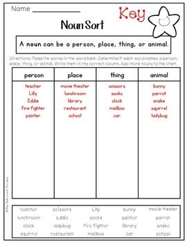 grammar noun sort person place  animal