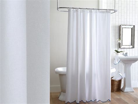 pique scalloped shower curtain