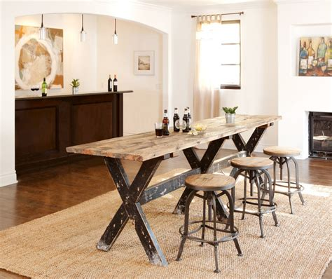 reclaimed boat wood counter height table rustic home