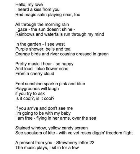 strawberry letter 23 lyrics 9 best song lyrics i images on lyrics